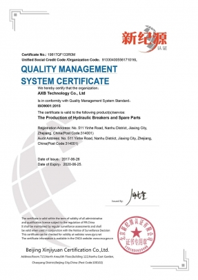 ISO9001 CERTIFICATION OF AXB HYDRAULIC BREAKER